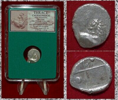 Ancient Greek Coin THRACE CHERSONESOS Lion Silver Hemidrachm