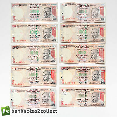 INDIA: 10 x 1,000 Indian Rupee Banknotes.