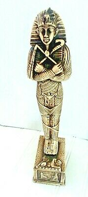 """Egyptian King Tut 13"""" Statue Standing Resin Antiqued Guard"""