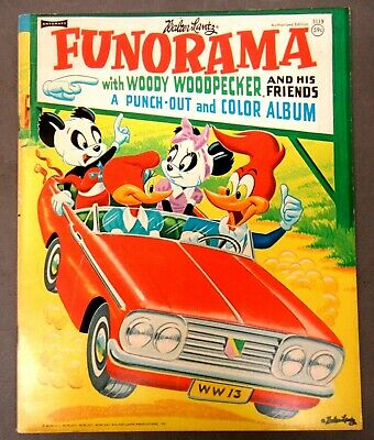 Walter Lantz FUNORAMA Woody Woodpecker Punch-Out & Color Album book mint/unused