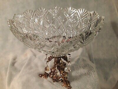 Compote Crystal Fruit Bowl brass stand  awesome must see with chandelier prisms