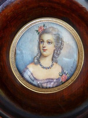Antique French Miniature Hand Painting Portrait of a Woman Signed