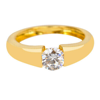 1.00 Carat Round Shape Solitaire Ring In 14KT Solid Yellow Gold For Gift Someone