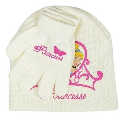 Disney Princess Girls Cream Hat & Gloves Set - One Size - 3-8 Years