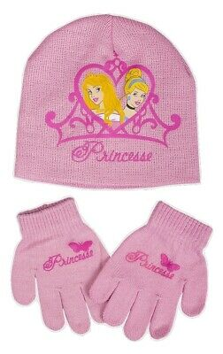 Disney Princess Girls Pink Hat & Gloves Set - One Size - 3-8 Years