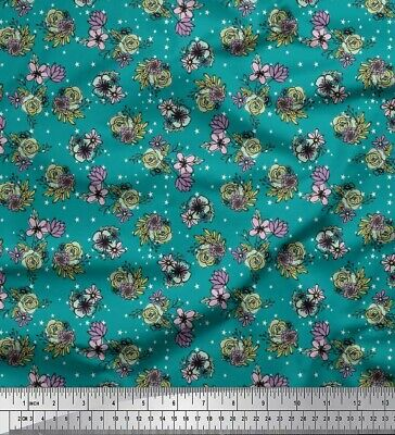 FL-1430I Soimoi Fabric Leaves /& Rose Floral Print Fabric by the Yard