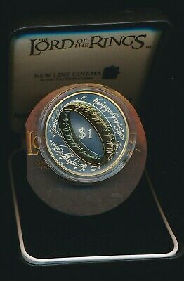 New Zealand 2003 $1 Silver Gold plated Proof Lord of the Rings Cat NZ$200 RARE