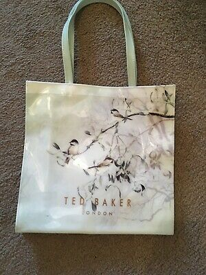 TED BAKER BIRD PRINT LARGE SHOPPER/ TOTE BAG (light Mint Green) Hardly Used