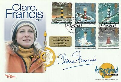24 MARCH 1998 LIGHTHOUSES FDC HAND SIGNED BY YACHTSWOMAN CLARE FRANCIS SHS a