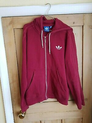 Adidas Men's Burgundy Red Hoodie Full Zip Sweatshirt Size Large