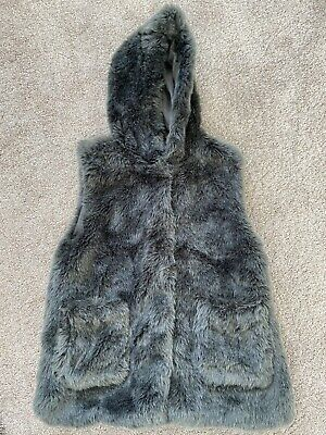 Zara Girls Charcoal Grey Fux Fur Hooded Gillet - Size 11-12 Years
