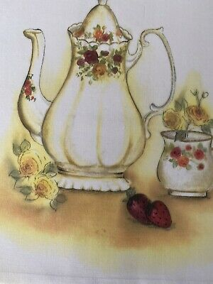 Di Van Niekerk Silk Ribbon Embroidery Printed Fabric Pattern Tea Pot