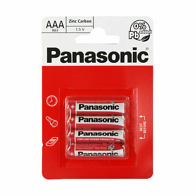 New & Genuine Panasonic AAA Batteries Zinc Carbon Pack Of 4