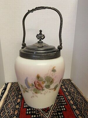 Antique Biscuit Barrel Jar Hand-Painted Floral Custard Glass