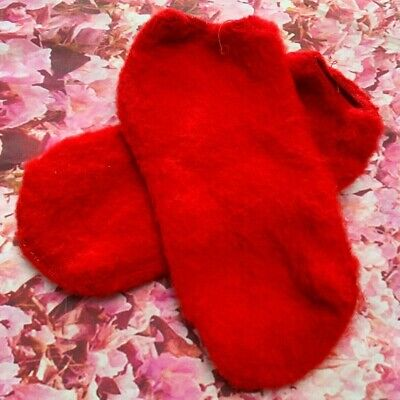 Vintage Brushed Acrylic Orlon Deep Red Footies Booties No Show NOS