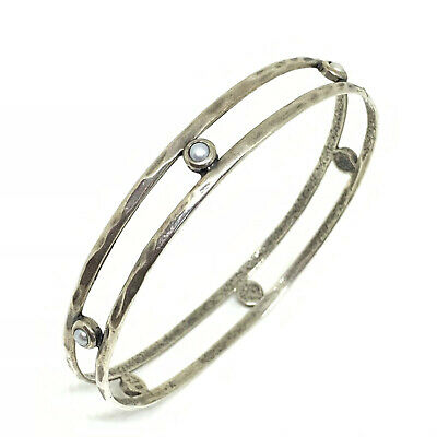 Antique arts and crafts sterling silver and pearl bangle