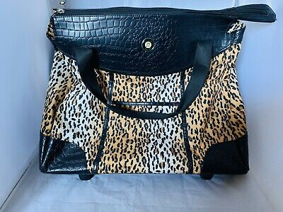 Olympia Leopard Print Carryon Vacation Weekend Rolling Strapped Bag Luggage