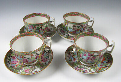 Set of 4 Antique Rose Medallion Cups & Saucers High Quality Gold in Hair 19th C.