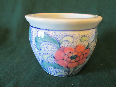 Blue White Glazed Porcelain Flower Hand Painted Planter Pot