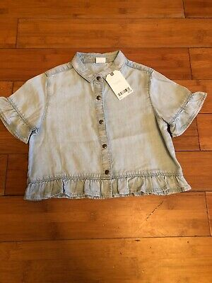 Next Girls Denim Shirt With Frill Sleeves Age 6 BNWT