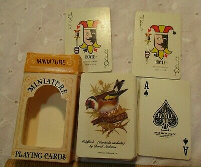 Miniature Deck Vintage Hoyle Playing Cards & Box Goldfinch Looks Unused/Shuffled