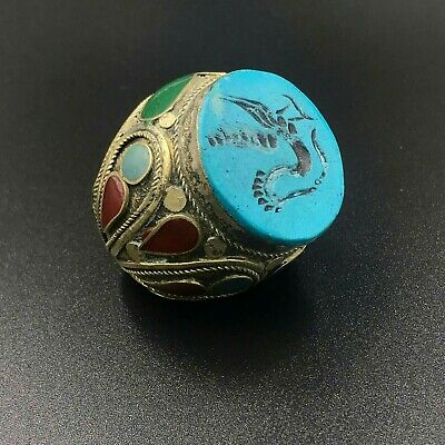 Amazing Antique Turquoise stone Intaglio duck Stamp Huage handmade  vintage Ring