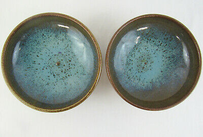 "Pair of 7"" Glazed Studio Pottery Round Bowls - Browns and Blues - Artist Marked"