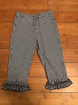 Next Girl's Black White Gingham Check Cropped Trousers Age 6 Years New Summer
