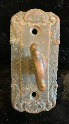 Antique EASTLAKE STYLE DOORBELL TURN KNOB & BACK PLATE Embossed Brass S & CO