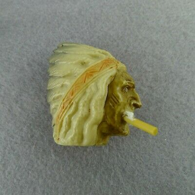 Antique Celluloid Indian Chief With Cigarette Tape Measure Novelty Souvenir