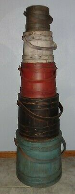 Large Stack of 5 Old Painted Firkin-Sugar Bucket-Shaker-Pantry Box Primitive