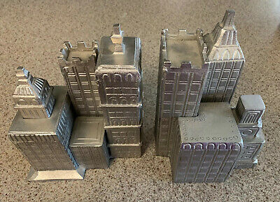 """POTTERY BARN ARCHITECTURAL Building City Block Metal Bookends 8.5"""" Tall Art Deco"""