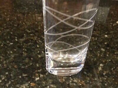 "Nambe Crystal Motus Pocket Vase 8"" Etched Wave Design"