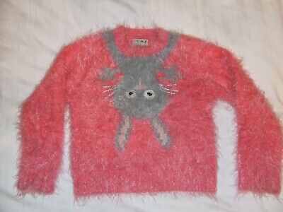 Girls Next pink fluffy Bunny Jumper age 3-4 years Excellent condition