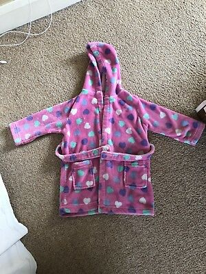 Girls Pink Heart Dressing Gown Age 2-3 Years