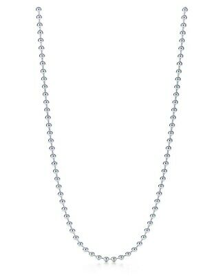 """Tiffany & Co 2.5mm Bead chain necklace sterling silver 34"""" men's unisex dog tag"""