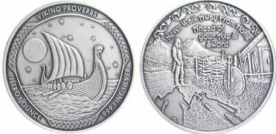 """NEW Vikings Proverbs Antique Series /""""Never Walk Away/"""" #1 of 3 Norse Valhalla COA"""