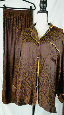 VS Victorias Secret Pasley Pajama Set S Small Dmask Brown Vintage Gold Label