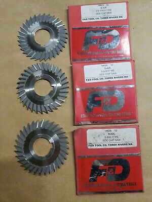 F & D Side Chip Saw Lot Of 3 Sizes 3x1/16x1 And 3x3/32x1 Unused