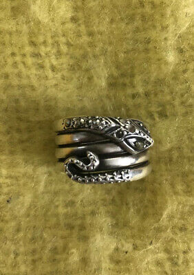 Vtg Antique Deco Sterling Silver Marcasite Snake Wrap Band Ring1930-40s READ ALL