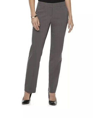 Apt. 9 Women's Gray Torie Midrise Curvy Straight-Leg Dress Pants-NWOT-Size 18L