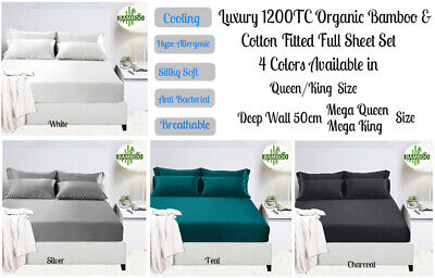 2000TC Bamboo Cooling Fitted Sheet Set Summer Sheet Hypo-Allergenic All Bed Size