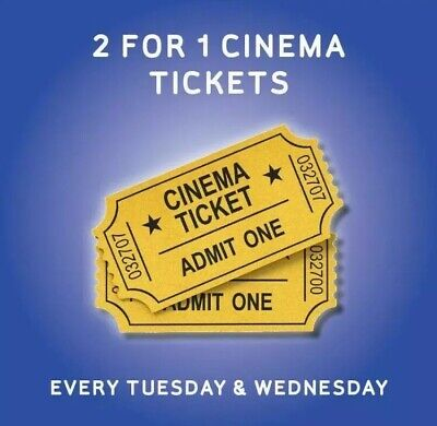 2 for 1 cinema Odeon Cineworld More Valid Tuesday 21st Or Wednesday 22nd