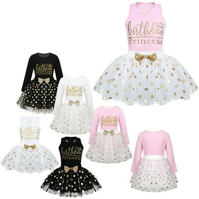 Birthday Baby Girls Dress Toddler Glitter Kids Tutu Skirt Clothes Party Outfits