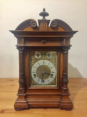 Antique Lenzkirch Large Walnut Cased Bracket Clock Westminster Chime 5 Gongs !
