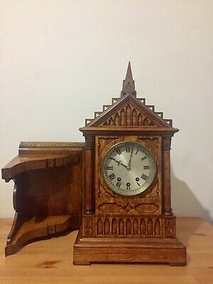 Stunning Antique English Made Cathedral Style Clock And Bracket 8 Bells!