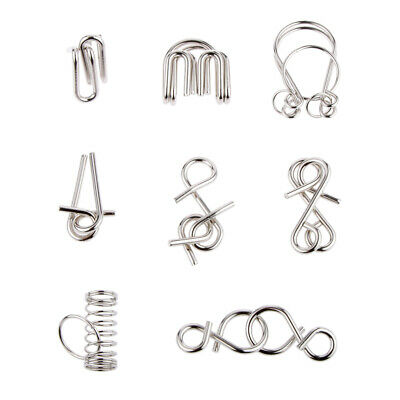 Standard Chinese 9 Linked Rings Stainless Steel Puzzle Funny Toy Brainteaser