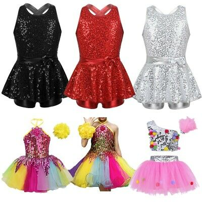 Girls Modern Jazz Dance Dress Kids Ballet Leotards Sequin Party Stage Tutu Skirt
