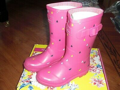 Bnwt Girls Joules Pink Raindrop Wellingtons Boots Wellies Size 1.Rrp £24.95
