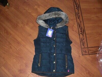 Bnwt Girls Joules Alanis French Navy Hooded Gilet Jacket Age 6 Yrs,Rrp £54.95.